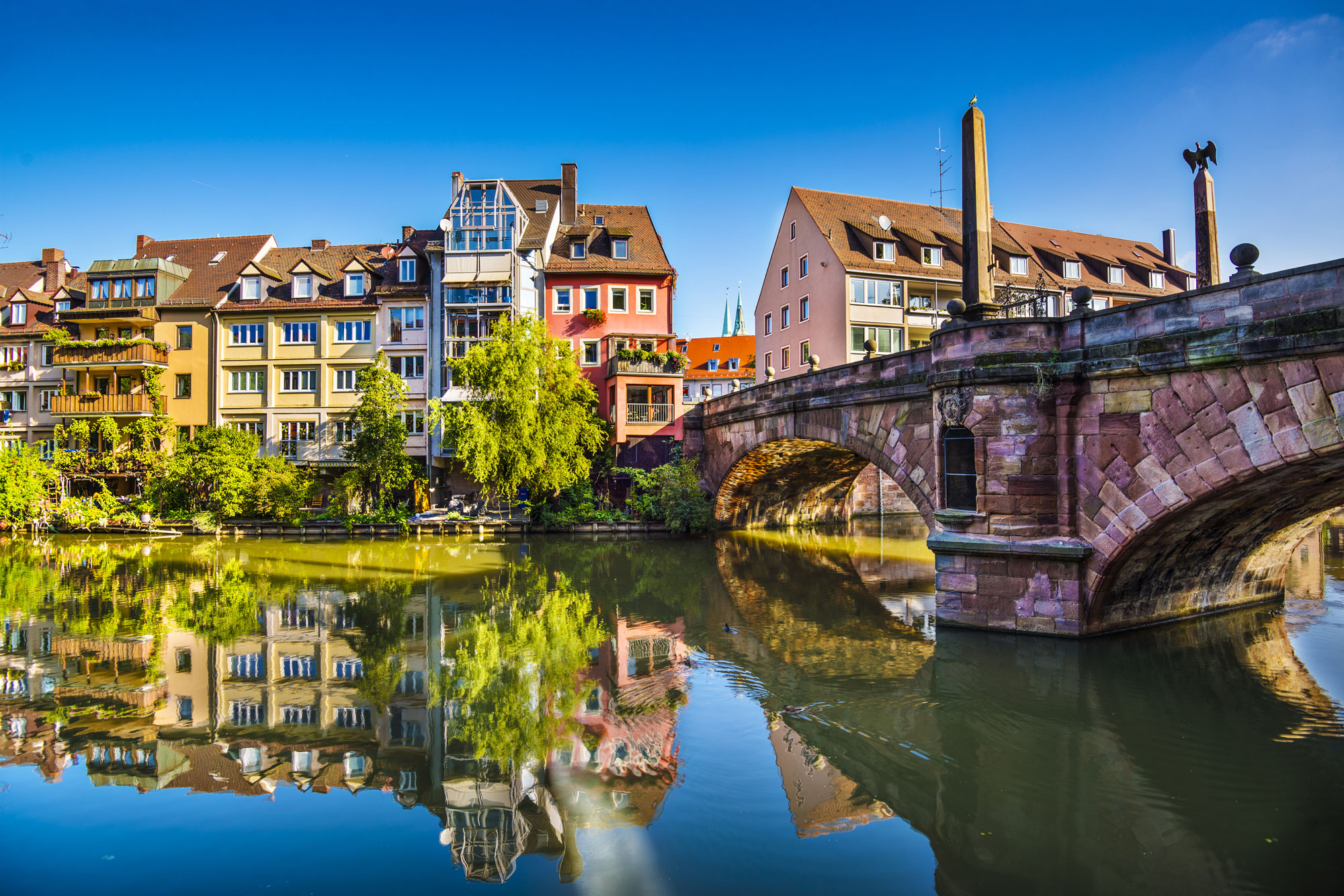 Nuremberg, Germany Old City at Pegnitz River