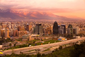 Panoramic view of Santiago, Chile, South America